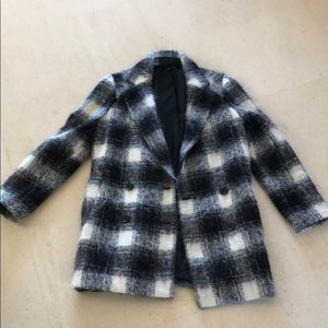 Theory plaid wool coat size small